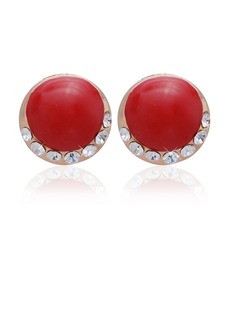 Unique Alloy/Coloured Glaze With Rhinestone Ladies' Earrings (011027317)