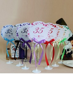 Personalized Floral Design Paper Table Number Cards With Holder With Ribbons (Set of 10) (118032248)