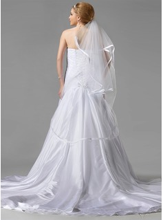 Two-tier Waltz Bridal Veils With Ribbon Edge (006002243)