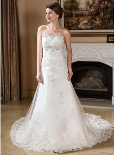 A-Line/Princess Strapless Chapel Train Satin Tulle Wedding Dress With Lace Beading (002000382)
