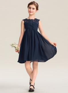 A-Linie U-Ausschnitt Knielang Chiffon Spitze Kleid für junge Brautjungfern mit Rüschen Perlstickerei Pailletten (009173289)