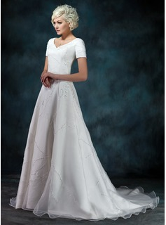 A-Line/Princess V-neck Court Train Organza Satin Wedding Dress With Beading Appliques (002000393)