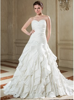 A-Line/Princess Sweetheart Court Train Taffeta Wedding Dress With Cascading Ruffles Pleated (002040676)