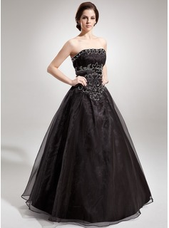 Ball-Gown Strapless Floor-Length Organza Quinceanera Dress With Ruffle Beading (008005680)
