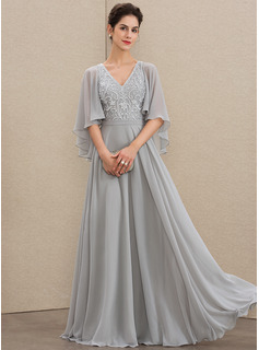 A-Line V-neck Floor-Length Chiffon Lace Mother of the Bride Dress With Beading Sequins (008179216)