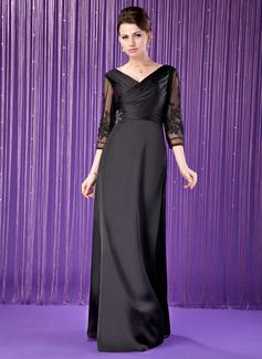A-Linie/Princess-Linie V-Ausschnitt Bodenlang Satin-Chiffon Kleid für die Brautmutter mit Rüschen Spitze Perlen verziert (008018709)