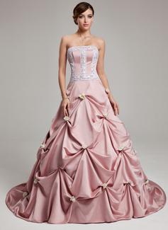 Duchesse-Linie Trägerlos Hof-schleppe Satin Quinceañera Kleid (Kleid für die Geburtstagsfeier) mit Rüschen Spitze Blumen (021017541)