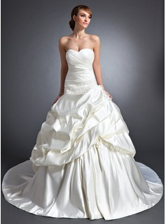 Ball-Gown Sweetheart Cathedral Train Satin Wedding Dress With Ruffle Flower(s) Sequins (002015117)