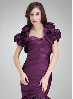 Short Sleeve Satin Special Occasion Wrap (013012421)