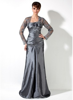 A-Linie/Princess-Linie One-Shoulder-Träger Sweep/Pinsel zug Taft Kleid für die Brautmutter mit Rüschen Spitze Perlen verziert (008006082)