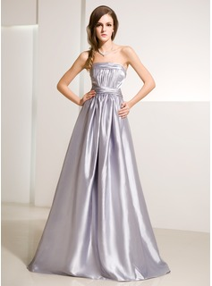 A-Lijn/Prinses Strapless thee-lengte Charmeuse Avondjurk met Roes (017014215)