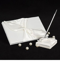 Satin Bow Guestbook/Pen Set (101018152)