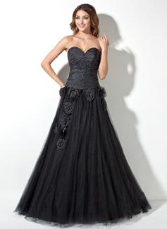 A-Linie/Princess-Linie Herzausschnitt Bodenlang Taft Tüll Quinceañera Kleid (Kleid für die Geburtstagsfeier) mit Rüschen Perlen verziert Blumen (021017445)