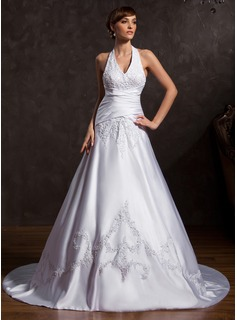 A-Line/Princess Halter Court Train Satin Wedding Dress With Embroidery Beadwork (002015172)