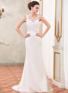 Trumpet/Mermaid Sweetheart Watteau Train Chiffon Charmeuse Wedding Dress With Ruffle Beading (002031877)