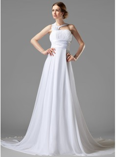 Empire One-Shoulder Court Train Chiffon Charmeuse Wedding Dress With Ruffle Flower(s) (002000447)