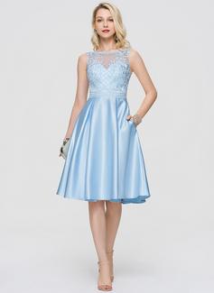 A-Line Scoop Neck Knee-Length Satin Cocktail Dress With Sequins Pockets (016197086)