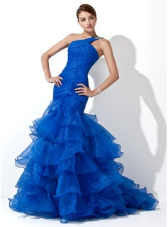 Robe de Bal de Promo Sirene Une epaule Traine longue Organza Robe de Bal de Promo avec Ondul Brod (018005077)