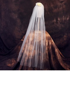 One-tier Cut Edge Elbow Bridal Veils With Rhinestones/Satin Flower/Faux Pearl (006190603)