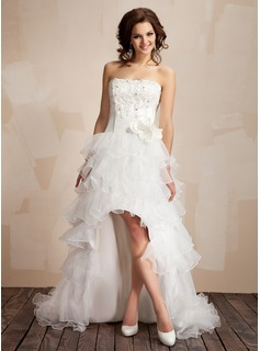 A-Line/Princess Strapless Asymmetrical Organza Prom Dresses With Lace Beading Flower(s) (018009449)