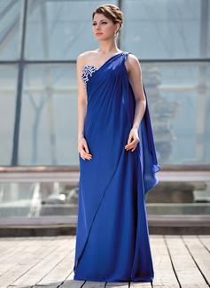 A-Linie/Princess-Linie Eine Schulter Bodenlang Chiffon Kleid für die Brautmutter mit Perlen verziert (008018700)