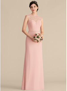 A-Line/Princess Scoop Neck Floor-Length Chiffon Lace Bridesmaid Dress With Beading (007165854)