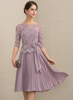 A-Linie/Princess-Linie U-Ausschnitt Knielang Chiffon Spitze Kleid für die Brautmutter mit Schleife(n) Gefaltet (008164068)