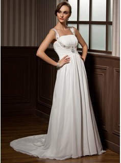 A-Line/Princess Scoop Neck Court Train Chiffon Wedding Dress With Ruffle Beading (002011505)