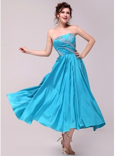 Cheap Prom Dresses A-Line/Princess Strapless Ankle-Length Taffeta Charmeuse Prom Dress With Ruffle (018014008)