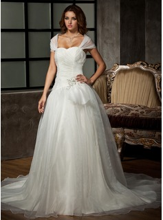 Ball-Gown Sweetheart Chapel Train Organza Wedding Dress With Ruffle Beading Appliques Lace Sequins (002011536)