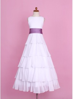 A-Line/Princess Floor-length Flower Girl Dress - Chiffon/Charmeuse Sleeveless Scoop Neck With Sash/Flower(s)/Cascading Ruffles (010002146)