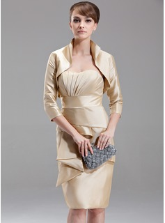 Sheath/Column Sweetheart Knee-Length Taffeta Mother of the Bride Dress With Ruffle (008006232)