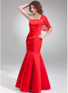 Trumpet/Mermaid One-Shoulder Floor-Length Satin Bridesmaid Dress (007001890)