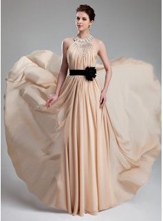 A-Line/Princess Halter Floor-Length Chiffon Charmeuse Prom Dress With Ruffle Beading Flower(s) (018019734)
