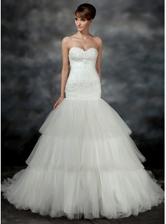 Trumpet/Mermaid Sweetheart Court Train Satin Tulle Wedding Dress With Ruffle Appliques Lace (002017196)