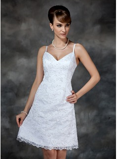 Sheath/Column Sweetheart Knee-Length Satin Lace Wedding Dress With Beading Sequins (002000222)