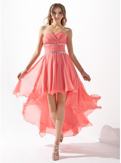 A-Line/Princess Sweetheart Asymmetrical Chiffon Homecoming Dress With Beading Cascading Ruffles (022009591)