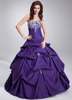 Duchesse-Linie Trägerlos Bodenlang Taft Quinceañera Kleid (Kleid für die Geburtstagsfeier) mit Rüschen Perlstickerei Applikationen Spitze Pailletten (021020747)