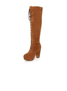 Suede Chunky Heel Over The Knee Boots With Zipper shoes (088036915)