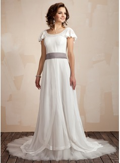 A-Line/Princess Scoop Neck Court Train Chiffon Tulle Charmeuse Wedding Dress With Ruffle Sash Beading Bow(s) (002012665)