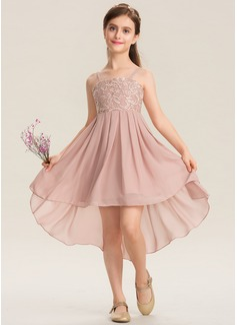 Corte A Escote Cuadrado Asimétrico Gasa Encaje Vestido de Damita de honor (009173297)