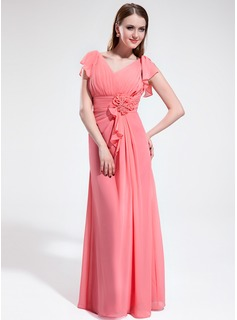 A-Line/Princess V-neck Floor-Length Chiffon Bridesmaid Dress With Flower(s) Cascading Ruffles (007025359)