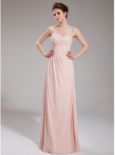Empire Sweetheart Floor-Length Chiffon Holiday Dress With Ruffle Beading (020025948)