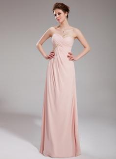 Empire-Linie Herzausschnitt Bodenlang Chiffon Festliche Kleid mit Rüschen Perlen verziert (020025948)