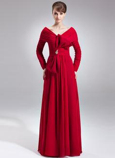 A-Linie/Princess-Linie Off-the-Schulter Bodenlang Chiffon Kleid für die Brautmutter mit Rüschen Perlstickerei Schleife(n) (008025993)