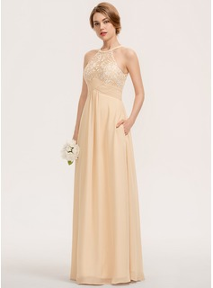 A-Line Scoop Neck Floor-Length Chiffon Lace Bridesmaid Dress With Ruffle Pockets (007190686)