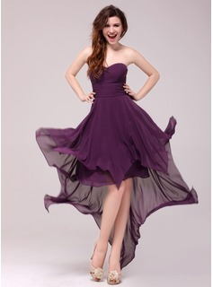Evening Dresses A-Line/Princess Sweetheart Asymmetrical Chiffon Evening Dress (017013987)