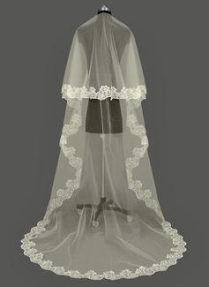 Uno capa Con Aplicación de encaje Velos de novia catedral con Apliques (006053195)
