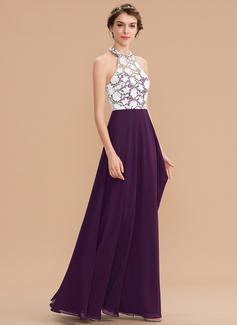 A-Line Halter Floor-Length Chiffon Lace Bridesmaid Dress (007182913)