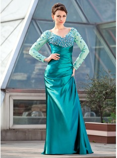 Sheath/Column Off-the-Shoulder Sweep Train Charmeuse Mother of the Bride Dress With Ruffle Beading Sequins (008018682)